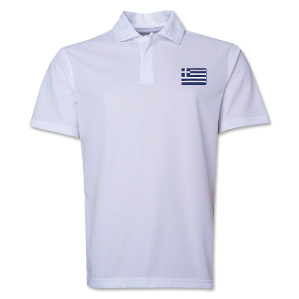 Greece Flag Soccer Polo (White)