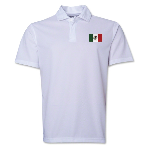 Mexico Flag Soccer Polo (White)