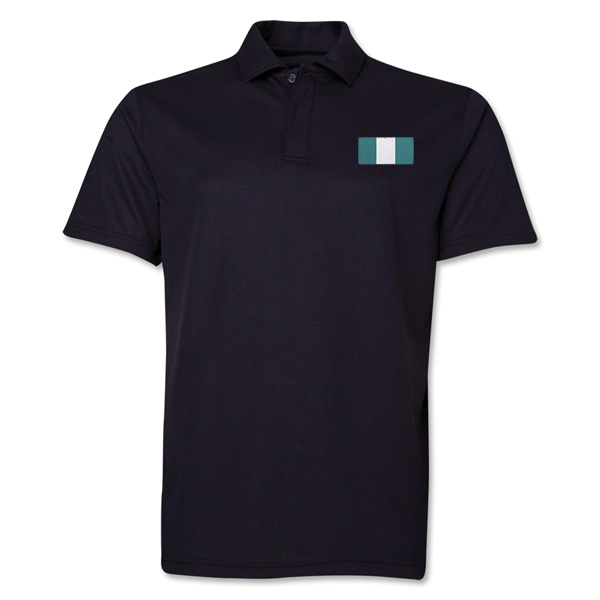 Nigeria Flag Soccer Polo (Black)