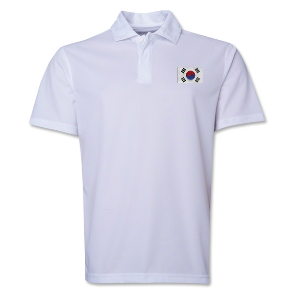 South Korea Flag Soccer Polo (White)