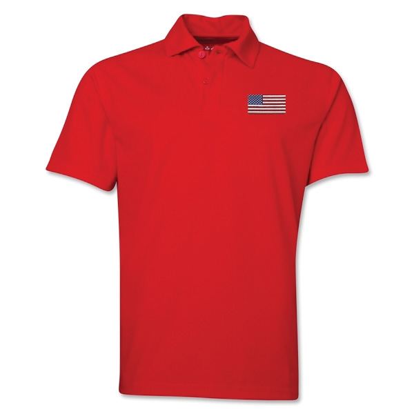 USA Flag Soccer Polo (Red)