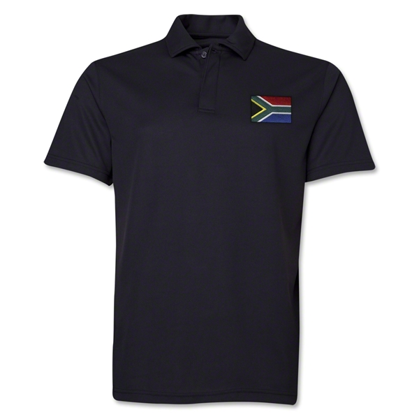 South Africa Flag Soccer Polo (Black)