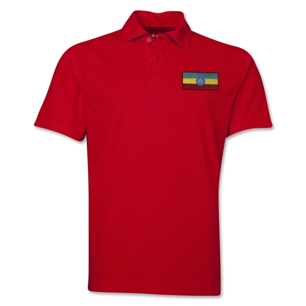 Ethiopia Flag Soccer Polo (Red)