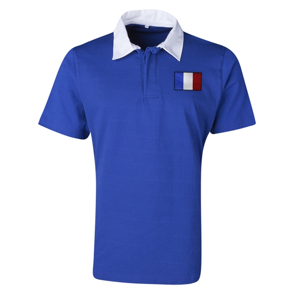 France Flag Retro Rugby Jersey (Blue)