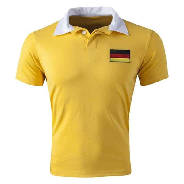 Germany Flag Retro Rugby Jersey (Yellow)