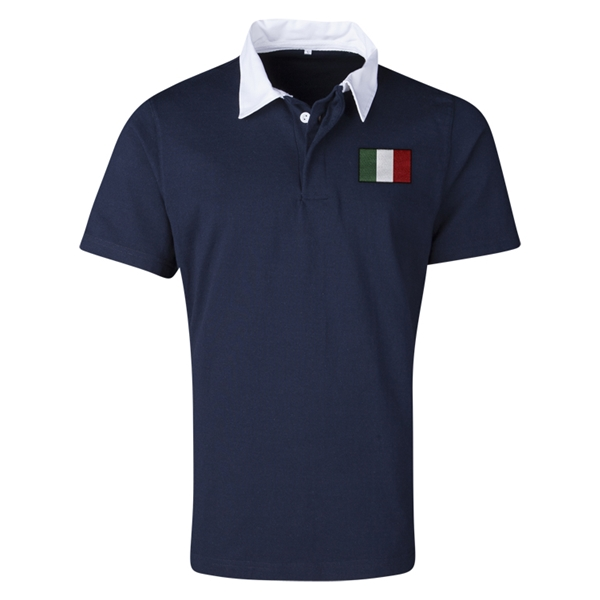 Italy Flag Retro Rugby Jersey (Navy)