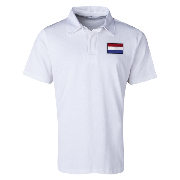 Netherlands Flag Retro Rugby Jersey (White)