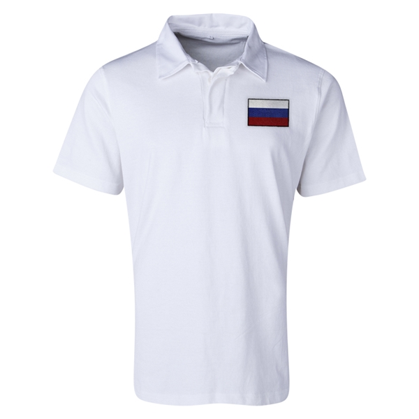 Russia Flag Retro Rugby Jersey (White)