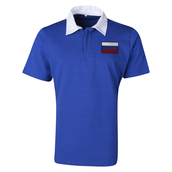 Russia Flag Retro Rugby Jersey (Blue)