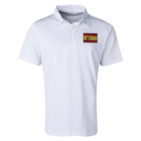 Spain Flag Retro Rugby Jersey (White)