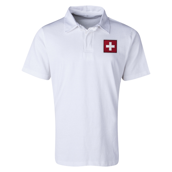 Switzerland Flag Retro Rugby Jersey (White)
