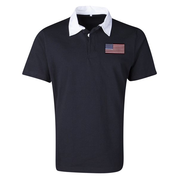 USA Flag Retro Rugby Jersey (Black)