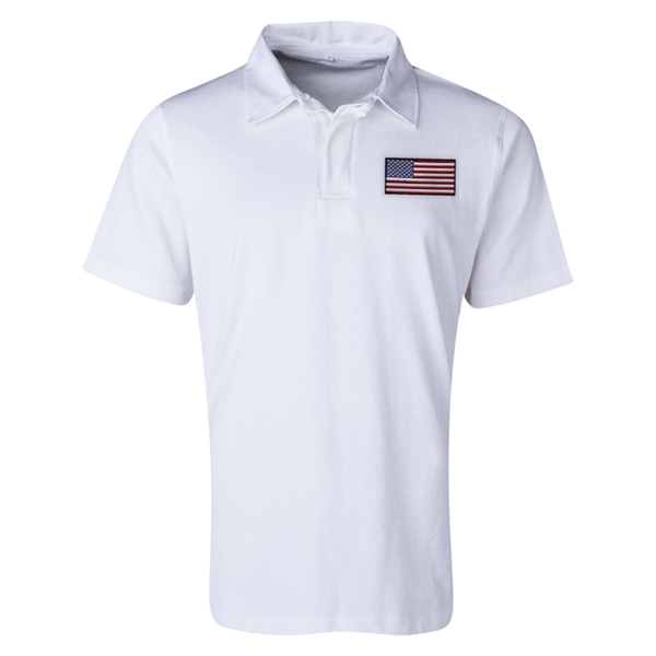 USA Flag Retro Rugby Jersey (White)