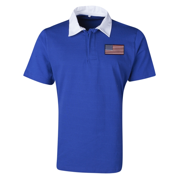 USA Flag Retro Rugby Jersey (Blue)