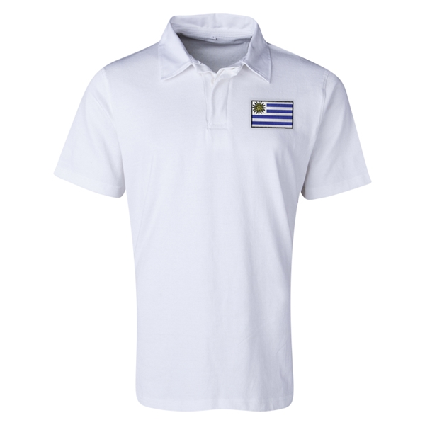 Uruguay Flag Retro Rugby Jersey (White)