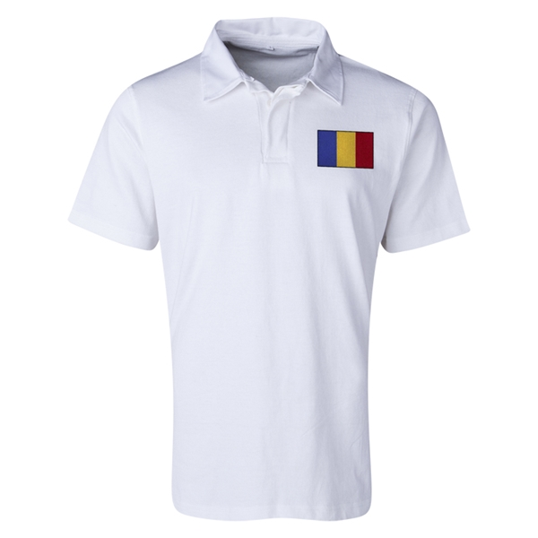 Romania Flag Retro Rugby Jersey (White)