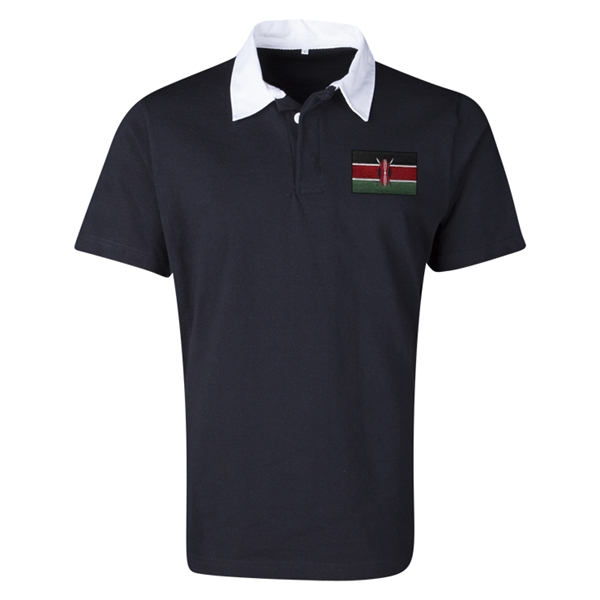 Kenya Flag Retro Rugby Jersey (Black)