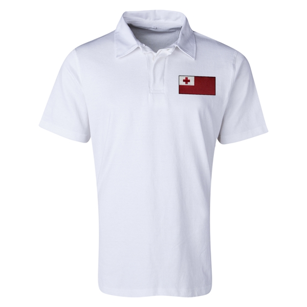 Tonga Flag Retro Rugby Jersey (White)