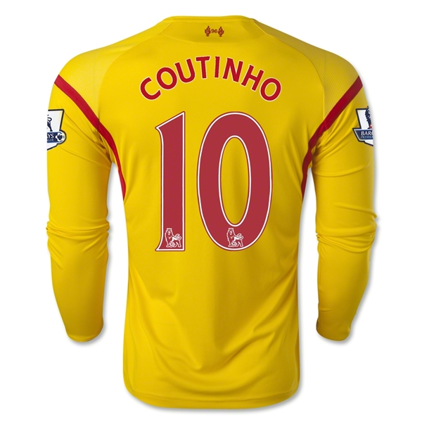 Liverpool 14/15 COUTINHO LS Away Soccer Jersey