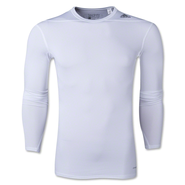adidas Base TechFit Compression Long Sleeve T-Shirt (White)