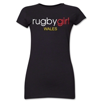 Rugby Girl Wales Junior Women's T-Shirt (Black)