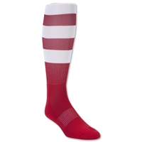 Elite Hooped Rugby Sock (Red/White)
