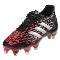 Adidas AdiPower Kakari SG Rugby Boots (Core Black/Silver Metallic/Shock Red)