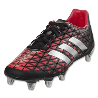 Adidas Kakari SG Rugby Boots (Core Black/Silver Metallic/Shock Red)